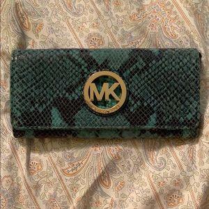 Michael Kors Aqua Teal Python Leather Flap Wallet